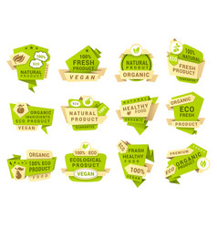 natural product labels patches templates vector image