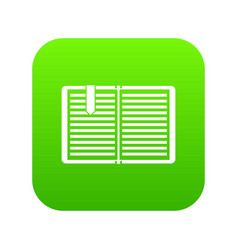 open book with a bookmark icon digital green vector image