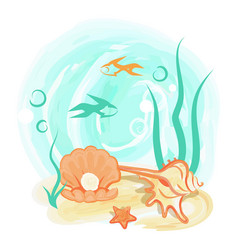 Opened light orange sea shell with shiny pearl vector