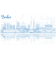 Outline berlin skyline with blue buildings and vector