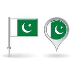 Pakistani pin icon and map pointer flag vector image