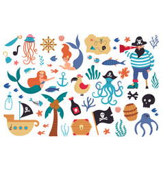 Pirates and mermaids sea underwater creatures and vector