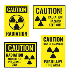 radiation danger sign set radioactive hazard vector image