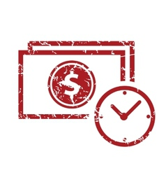 Red grunge buck time logo vector