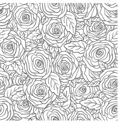 rose seamless pattern flower bud and leaf hand vector image