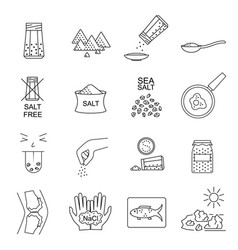 salt signs black thin line icon set vector image