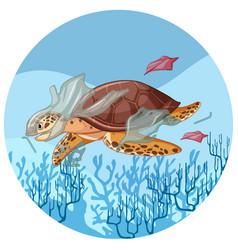 Sea turtle with plastic bags underwater vector