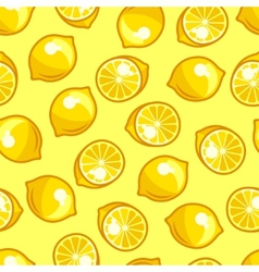 Seamless pattern with stylized fresh ripe lemons vector