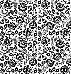 Seamless Polish folk art black floral pattern vector