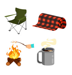 Set for camping armchair carpet vector