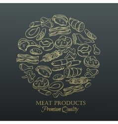 Set hand drawn monochrome icon meat vector