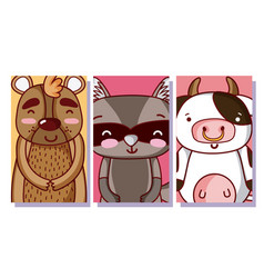Set of cute animals cartoon vector