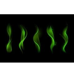 Set of Different Magic Green Fire Flame vector image