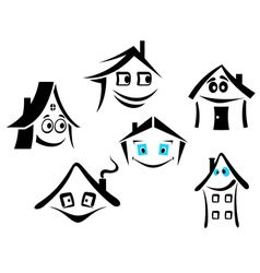 Set of smiling houses vector