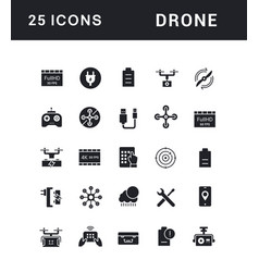 set simple icons drone vector image