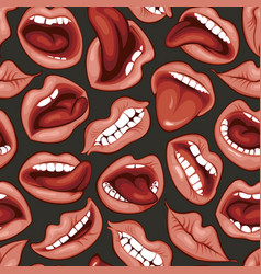 sexy woman lips and mouths seamless pattern vector image