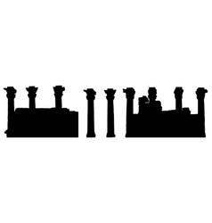 Silhouettes columns karnak temple complex vector