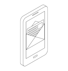 Smartphone with email icon isometric 3d style vector image