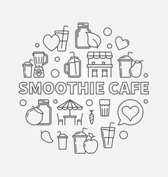 smoothie cafe round concept in thin vector image vector image