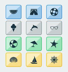 Summer icons set collection melon conch vector