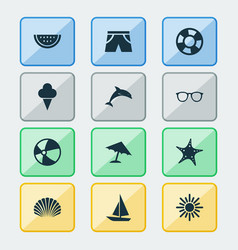 Summer icons set collection of melon conch vector