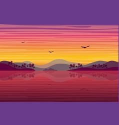 sunset over tropical island landscape background vector image