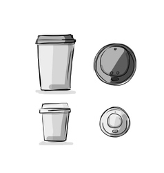 Take away coffee cup sketch for your design vector image