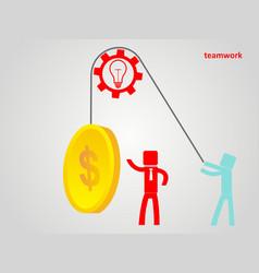 Teamwork concept - an employee raises a coin on a vector