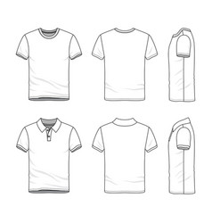 Templates of t-shirt and polo shirt vector