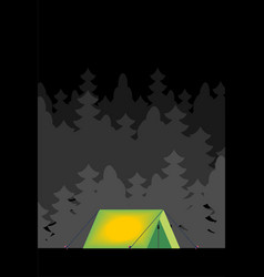 Tent in forest at night inside light isolated vector