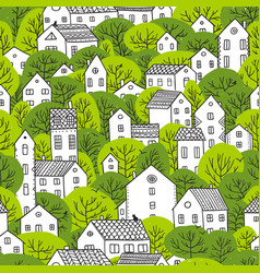 trees and houses seamless pattern spring light vector image