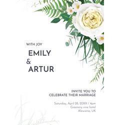 tropical greenery floral wedding invite border vector image