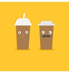 Two disposable coffee paper cups with eyes vector image