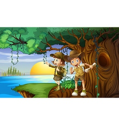 Two kids camping by the river vector image