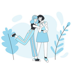 two smiling girls hugging cartoon vector image