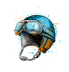 Vintage motorcycle classic helmet with goggles vector