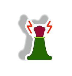 Volcano explosion and lightning vector