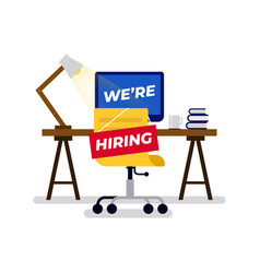 We are hiring sign hung on chair vector
