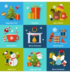 Winter concept set vector image