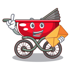 with envelope cartoon baby stroller in the beach vector image