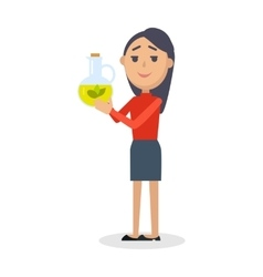 Woman with Bottle of Virgin Olive Oil Flat vector image