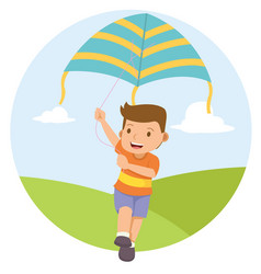 young boy playing kite in the field vector image