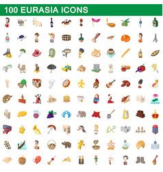 100 eurasia icons set cartoon style vector image vector image