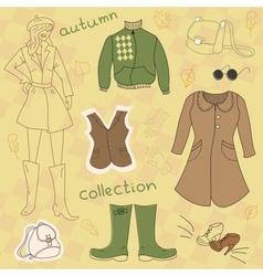 Autumn clothes set vector image