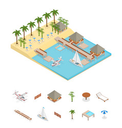 bungalow on sea coast isometric view vector image vector image