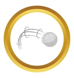 Kick of golf ball icon vector