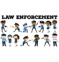 Policeman and law enforcement poster vector image vector image