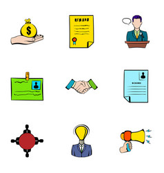 resume icons set cartoon style vector image vector image