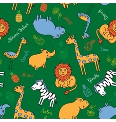 Seamless pattern animal Safari vector image