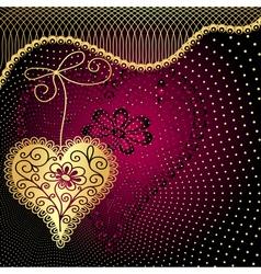 Vintage purple valentine frame vector image
